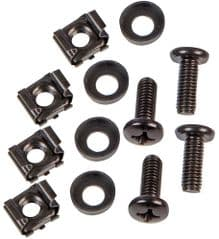PULSE PLS00620  M6 Cage Nut+Screw+Washer, Blk ( 4 Pk)